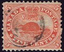 Stamp - Beaver - 5 cents - 1859 - Used